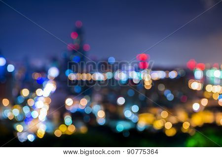 Decorative neon lights in soft focus background