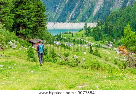Young woman on a mountain trail, Austria