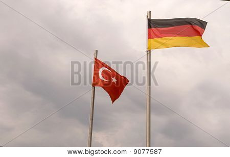 German And Turkish Flags .