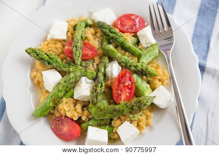 Healthy Salad with asparagus, red lentils