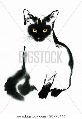 Black And White Contour Cat Watercolor Illustration