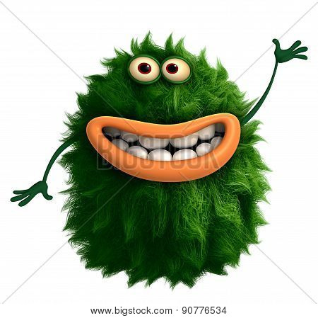 Green Cartoon Hairy Monster 3D