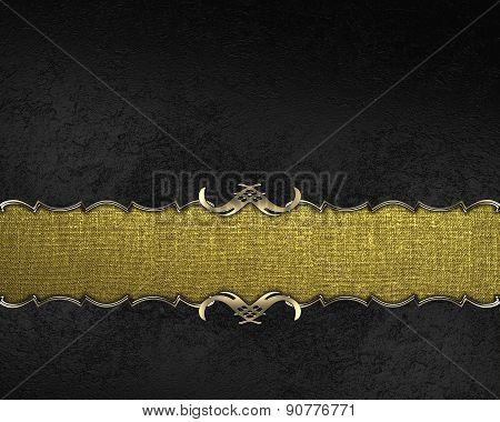 Element Of Black Texture With Gold Nameplate. Design Template. Design For Site