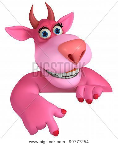 Horns Pink Cartoon Devil 3D