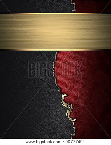 Element Of Black Texture With Red Edge With Gold Nameplate. Design Template. Design For Site