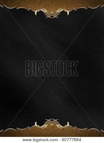 Template Gold Frame On Black Background. Design Template. Design For Site