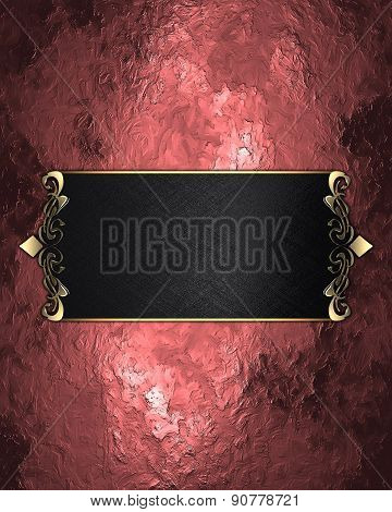 Abstract Red Background With Black Nameplate. Design Template