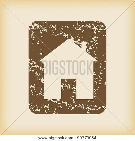 Grungy house sign icon