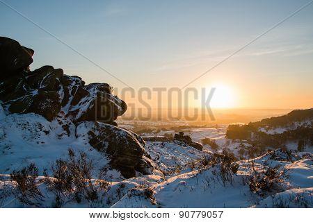 Sunset over Ramshaw Rocks