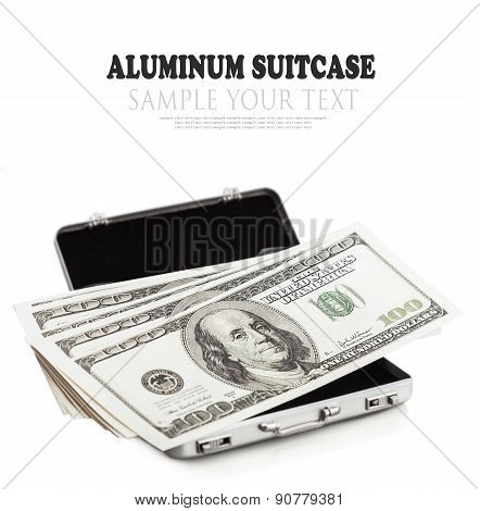 Small Aluminum Suitcase Full Of Dollar