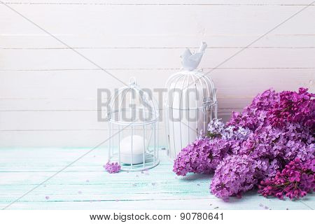 Background With  Lilac Flowers And Candles