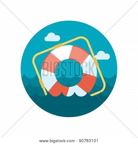 Lifebuoy Flat Icon With Long Shadow