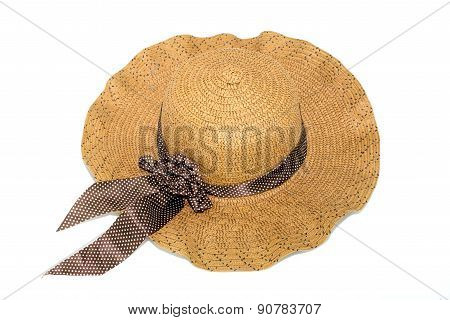 Hat,made From Bamboo On White Background