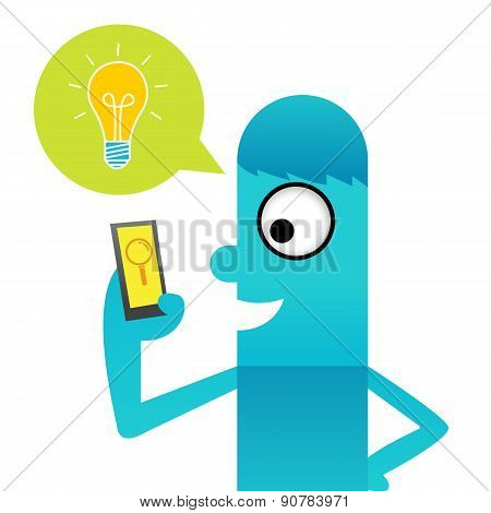 Blue man get idea about mobile application