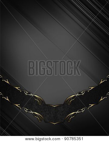 Abstract Dark Background With Gold Pattern On A Black Band. Design Template. Design Site