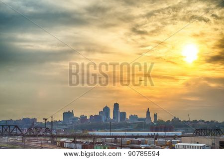 Kansas City Skyline At Sunrise