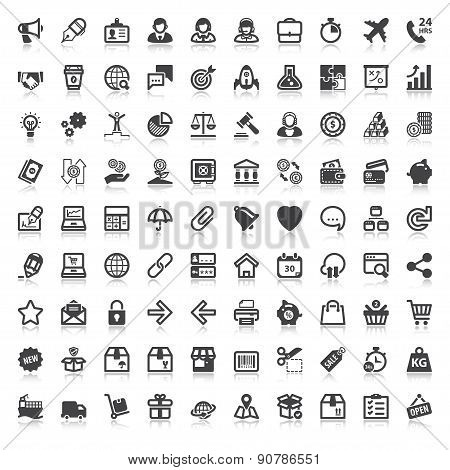Web Finances Business Shopping Flat Icons  With Reflection