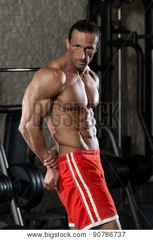 Muscular Mature Man Performing Side Triceps Pose