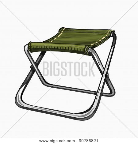 Illustration of isolated folding camp chair on white background. Camping gear, hiking.
