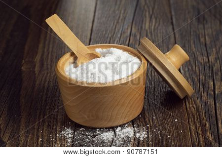 Salt In Wooden Bowl