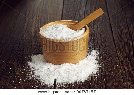 Sea Salt With Spoon In Bowl