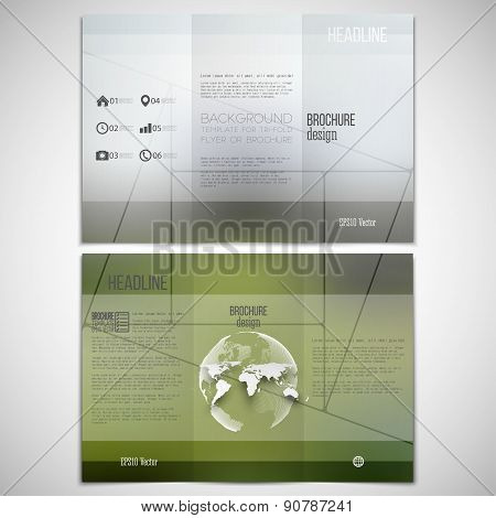 Vector set of tri-fold brochure design template on both sides with world globe element. Mosaic patte