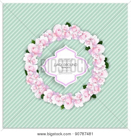 Marriage invitation card with place for text and pink flowers over linear blue background, vector il