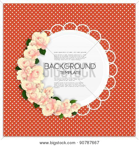Invitation card with place for text and pink flowers over red dotted background, vector illustration