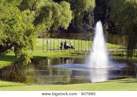 Golf Cart And Fountain Hazard