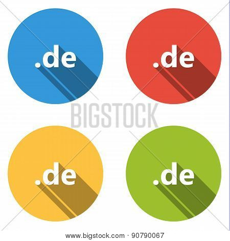 Collection Of 4 Isolated Flat Buttons (icons) For .de Domain