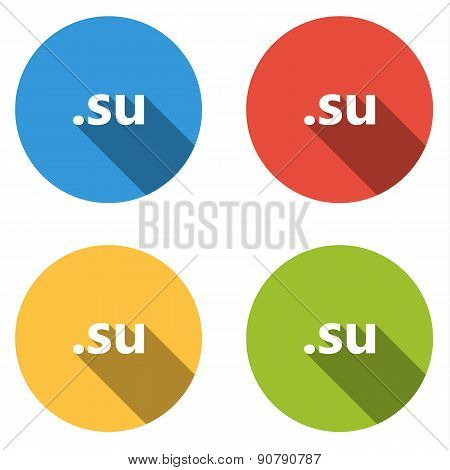 Collection Of 4 Isolated Flat Buttons (icons) For .su Domain