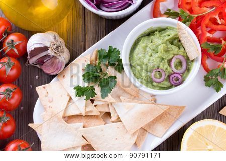 Tortilla Chips nachos, Guacamole and Ingredients