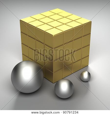 illustration of cube and spheres