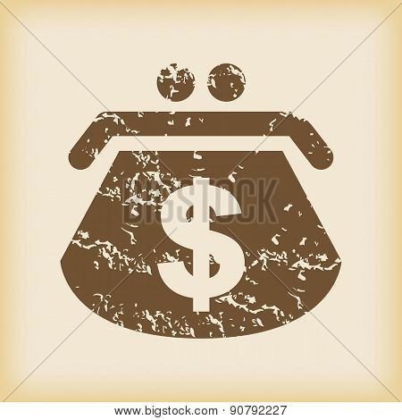 Grungy dollar purse icon