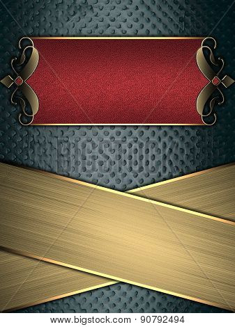 Grunge Blue Background With Gold Stripes And A Red Sign With Gold Decoration. Template For Design. T