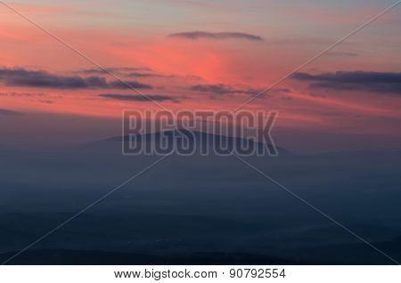 Mountain landscape after sunset.