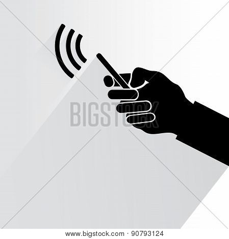 hand holding phone with wifi signal