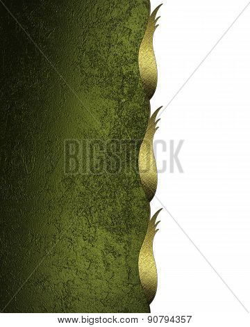 Green Grunge Background With Gold Trim. Design Template. Design For Site