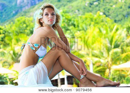 Woman Near Pool