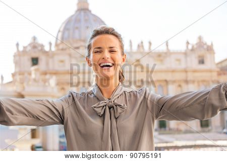 Laughing Woman In Vatican City In Rome Taking Selfie