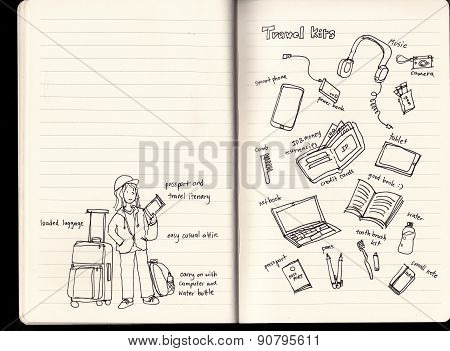 Plane Flight Travel Kits Illustration