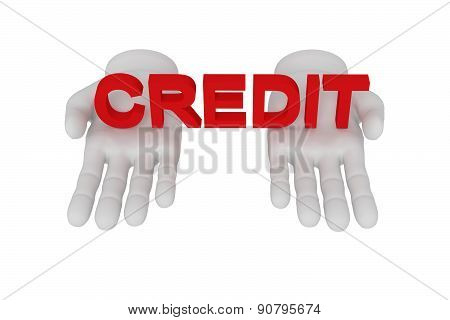 3D White Human Open Hand Holds A Word Credit. White Background.
