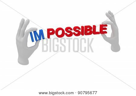 3D White Human Open Hand Holds A Word Impossible. White Background.