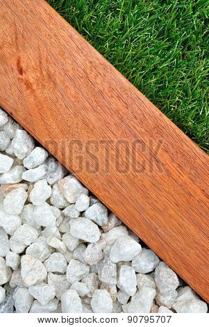 Combinations Of Grass, Timber And Stones Vertical Image