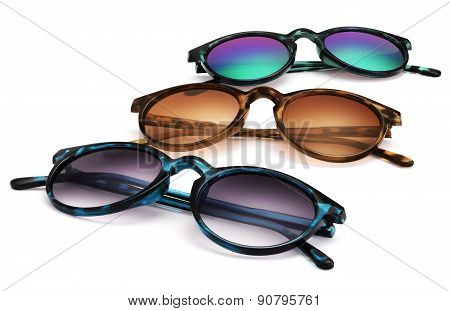 sun glasses Isolated On White Background In Various Colors.sunglasses Isolated White Background
