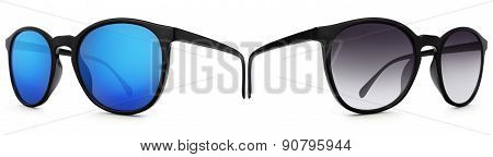 Sun glasses Isolated On White Background With Blue Mirrored Lenses