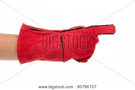 Heavy-duty red glove on hand.
