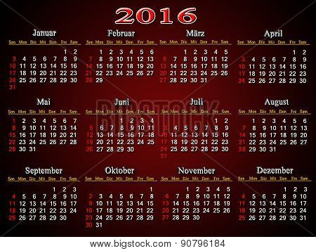 Calendar For 2016 In German On The Claret