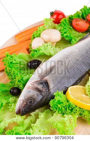 Composition of fresh seabass with carrot.