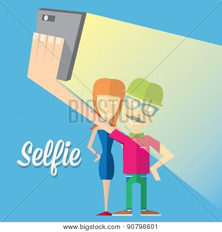 Taking Selfie Photo on Smart Phone concept